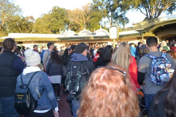 Crowd waiting to get into Magic Kingdom
