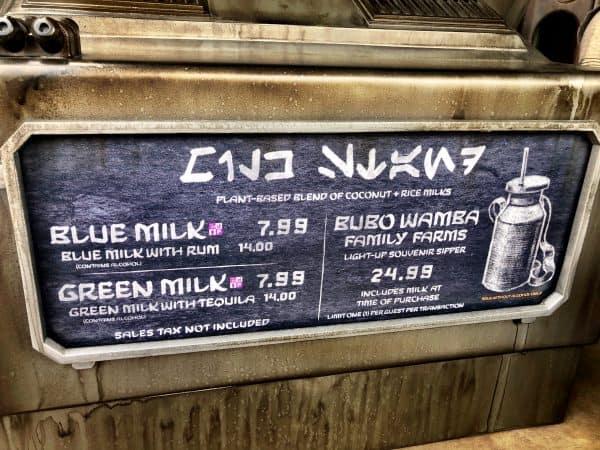 Milk Stand menu