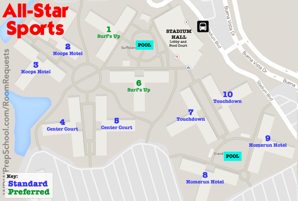 allstarsportsmap 600x404 - How to get the Disney World resort room you want