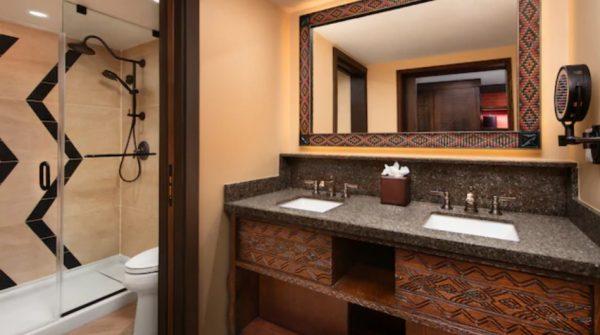 Standard room bathroom at Animal Kingdom Lodge