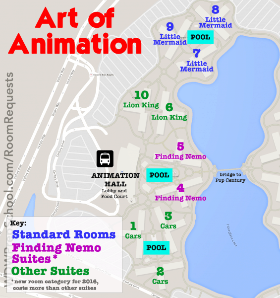 artofanimationmap1 565x600 - How to get the Disney World resort room you want