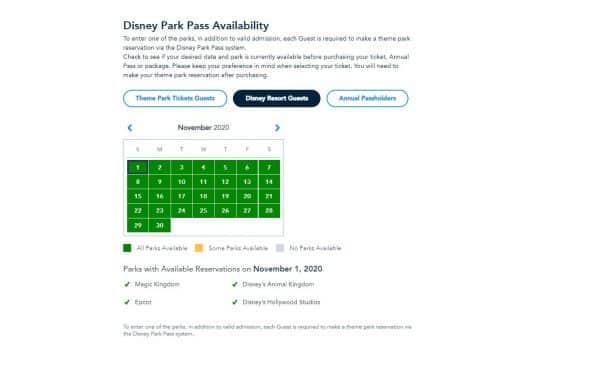 Park pass availability calendar