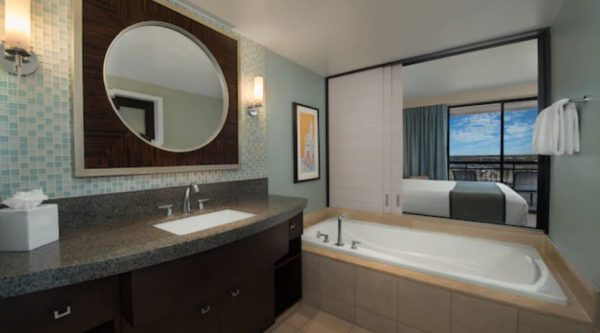 Bay Lake Tower villa bedroom and bathroom