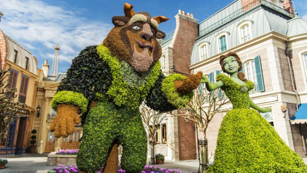 beast and belle topiary at flower and garden