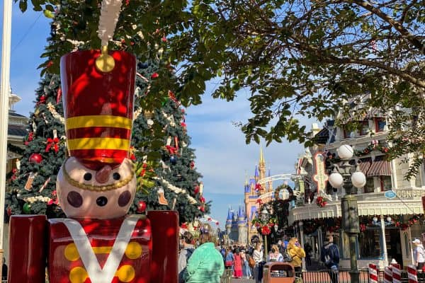 Main Street at Christmas Magic Kingdom masks