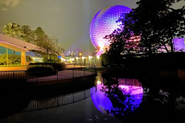 Epcot and Spaceship Earth at night