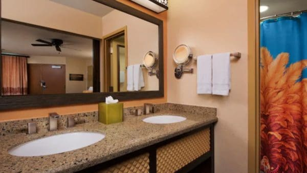 Standard bathroom at Disney's Caribbean Beach Resort
