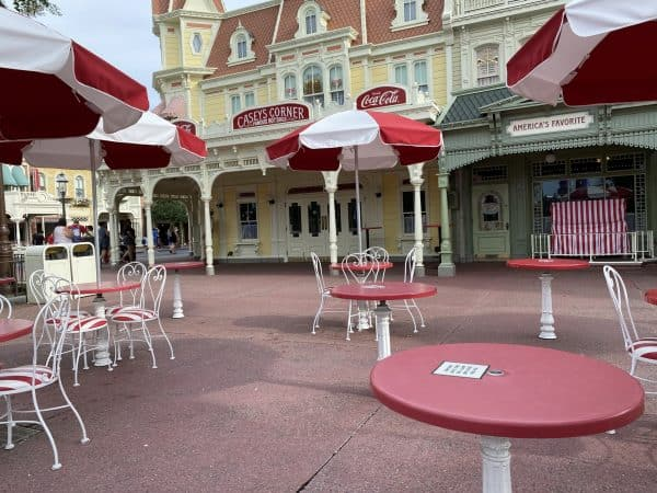Casey's Corner at Magic Kingdom still offers outdoor seating