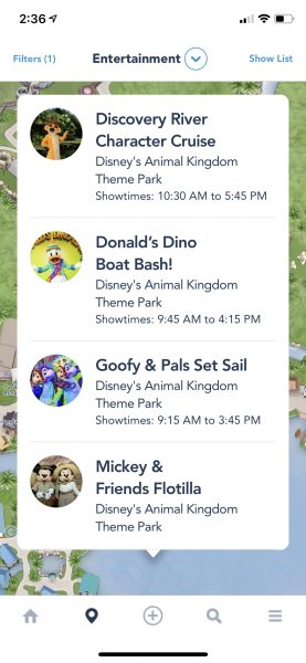 Character Cruise info in My Disney Experience