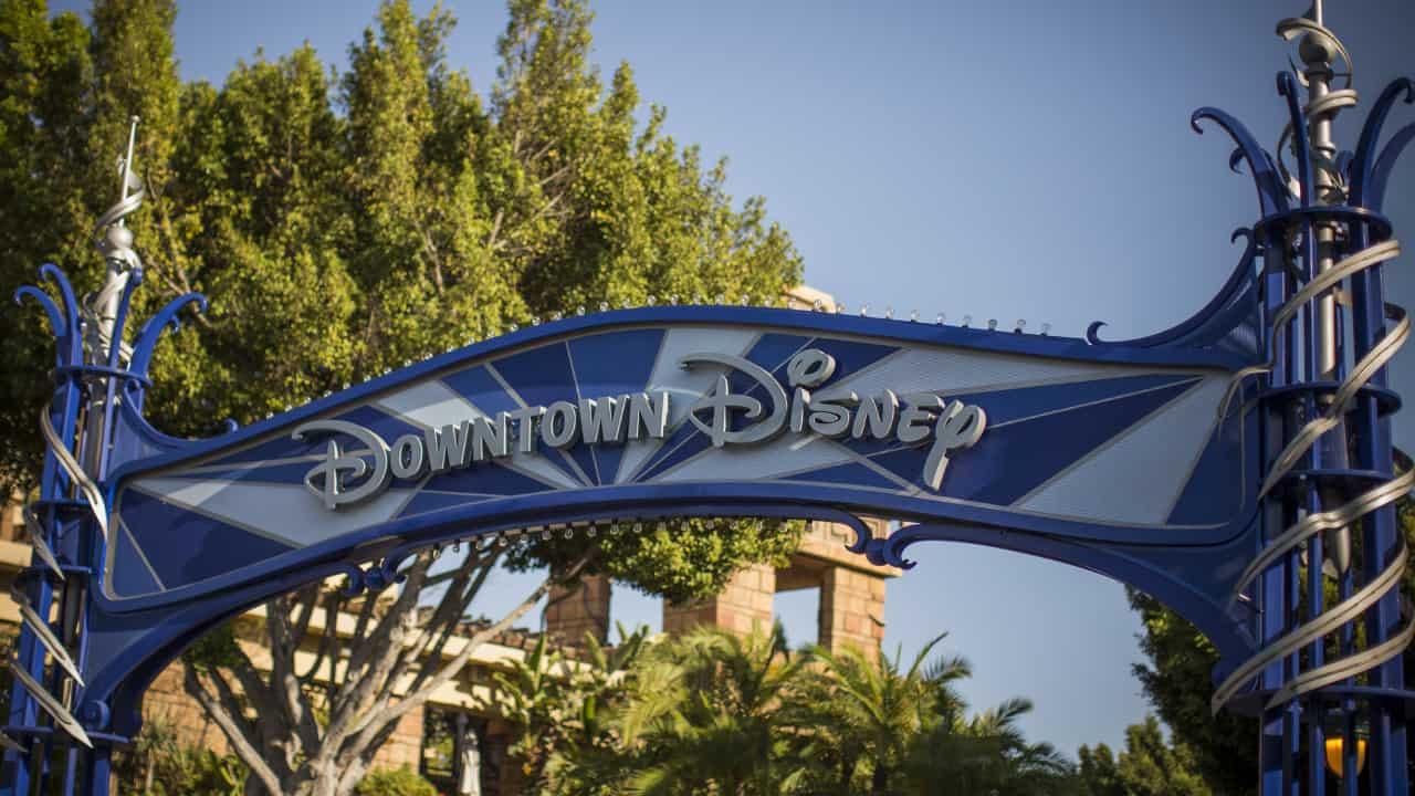 Downton Disney sign in Disneyland