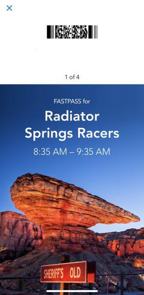 Disneyland MaxPass Radiator Springs Racers