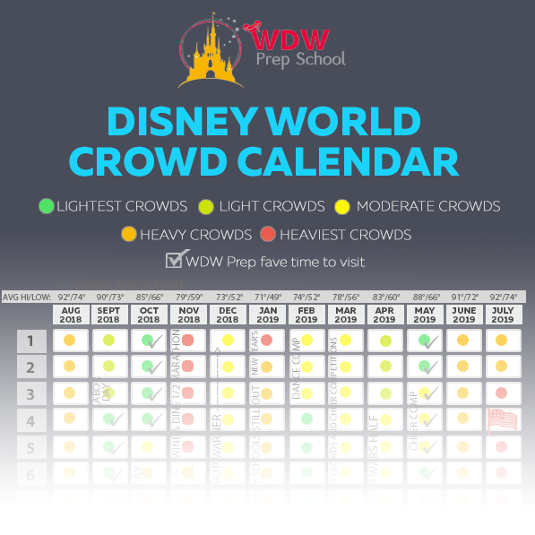 Calendario Con Week 2018.Disney World 2019 2020 Crowd Calendar Best Times To Go