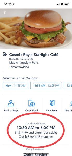 Quick Service restaurant options