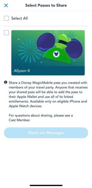 disney magicmobile select passes to share