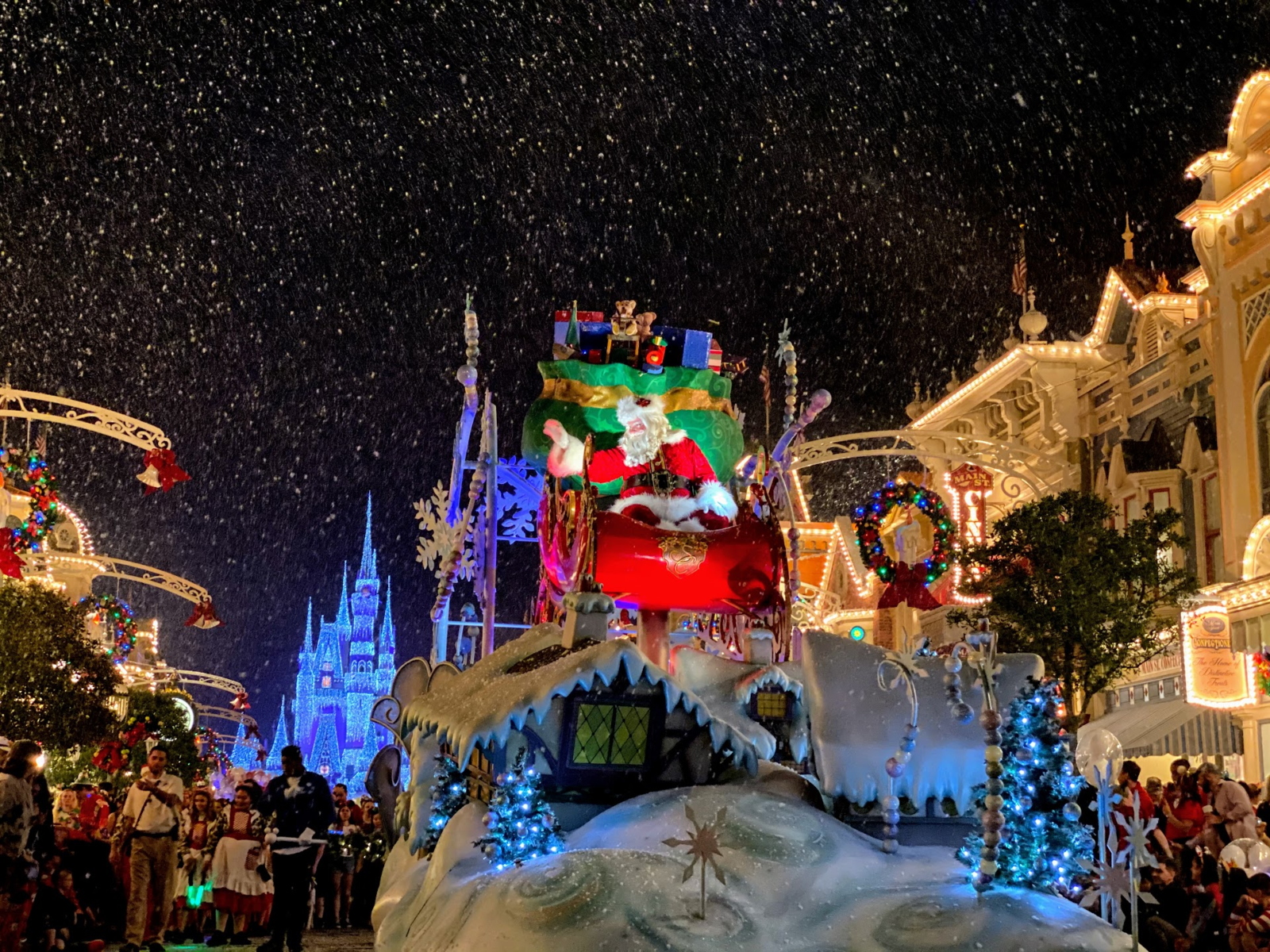 santa claus in mickey's once upon a christmastime parade