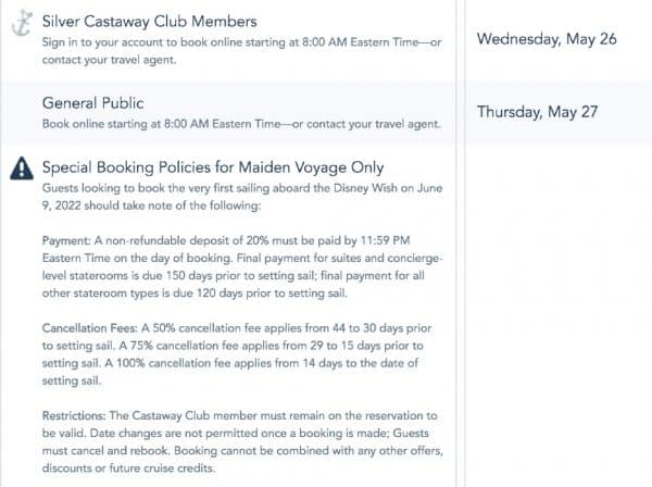 early bookings for disney wish