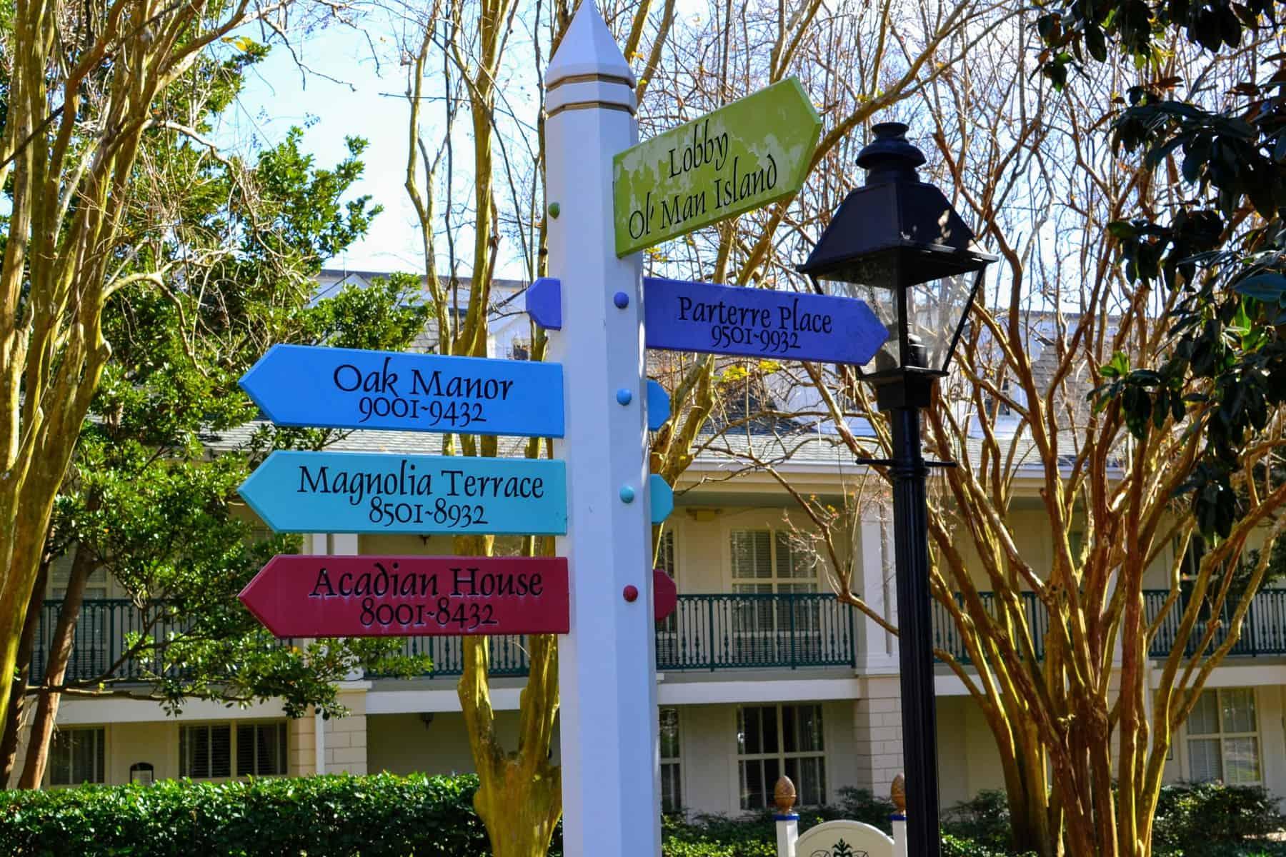 Sign at Port Orleans Riverside Moderate Resort at Disney World