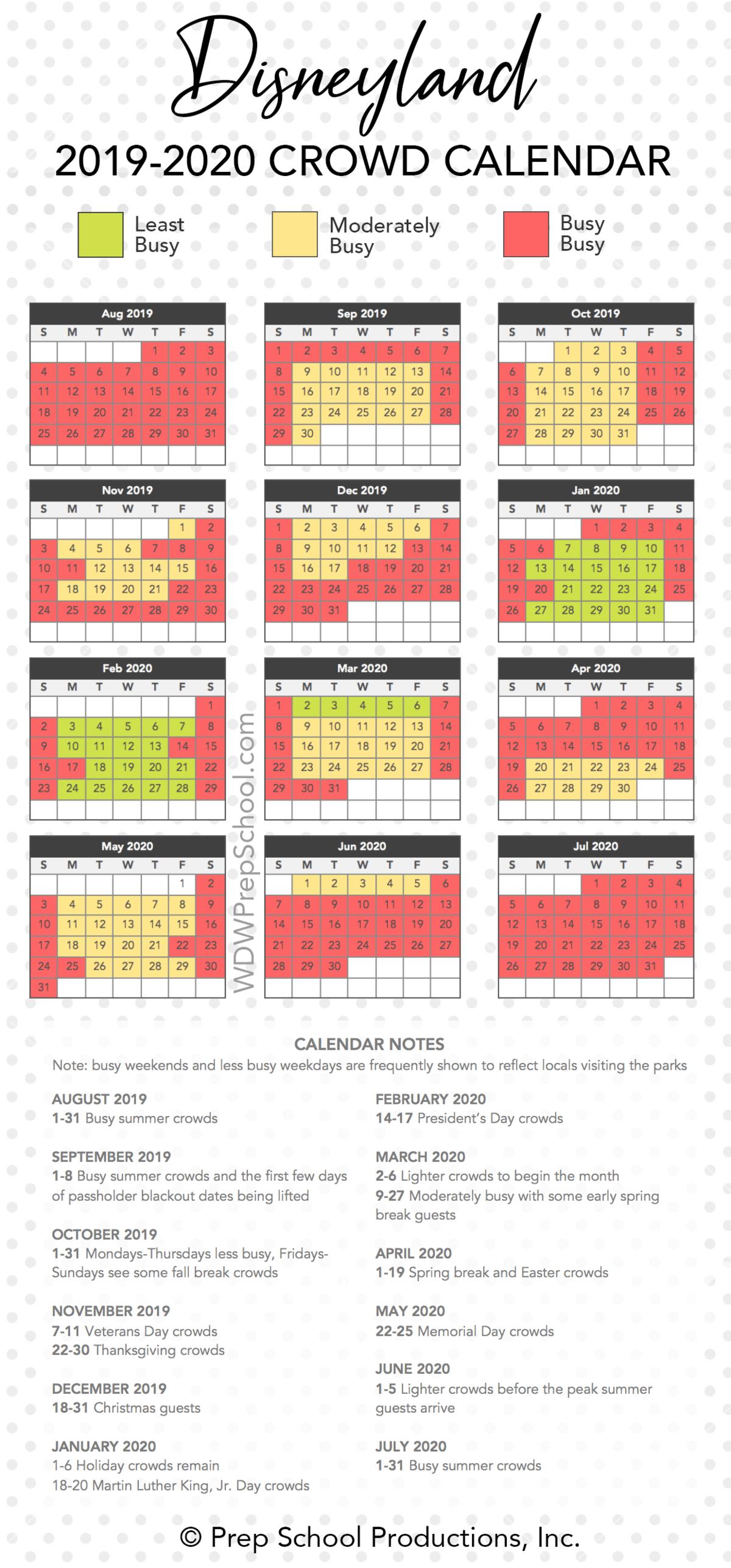 Disneyland 2019-2020 Crowd Calendar