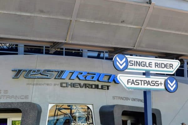 Test Track FastPass sign