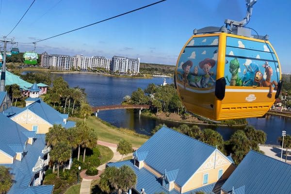 Disney Skyliner over Caribbean Beach