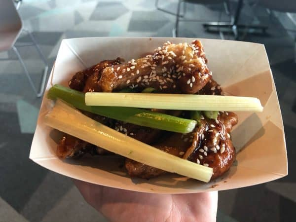 teriyaki and sesame wings with celery at epcot food and wine 2021