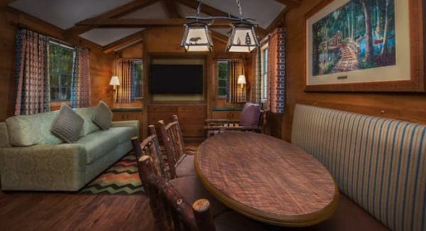 Living area at Disney's Fort Wilderness Cabins