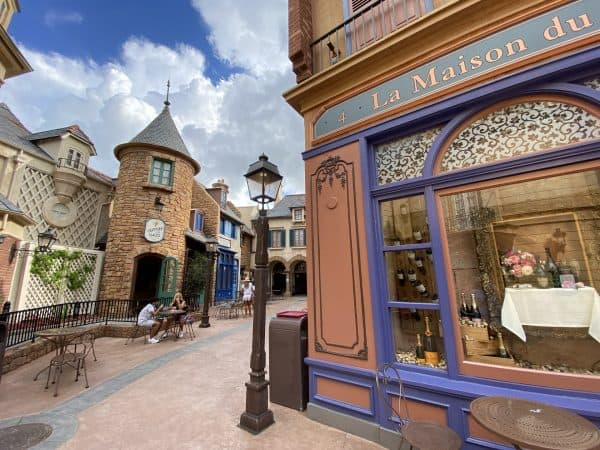 The France Pavilion in Epcot has some outdoor seating