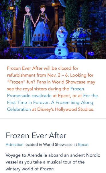 Frozen Ever After refurbishment