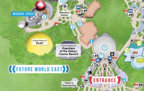 guardians of the galaxy: cosmic rewind on epcot guide map
