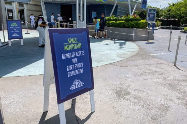 Space Mountain Disability Access sign