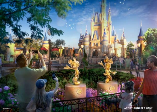 golden sculptures for 50th anniversary at disney world