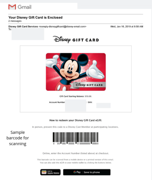 Disney gift card email