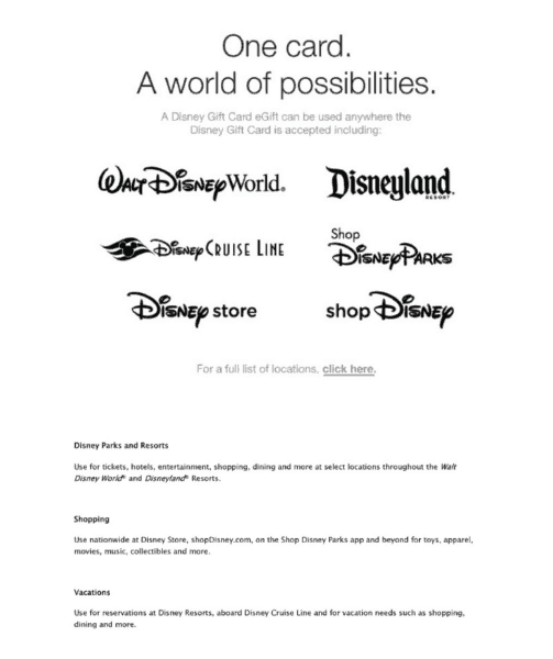 Where you can use Disney Gift Cards