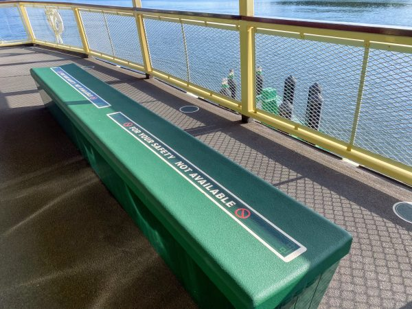 benches on the ferry boat