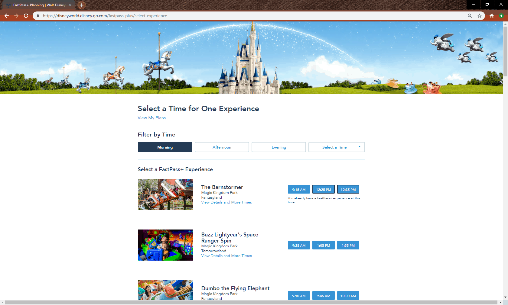 FastPass+ select attraction