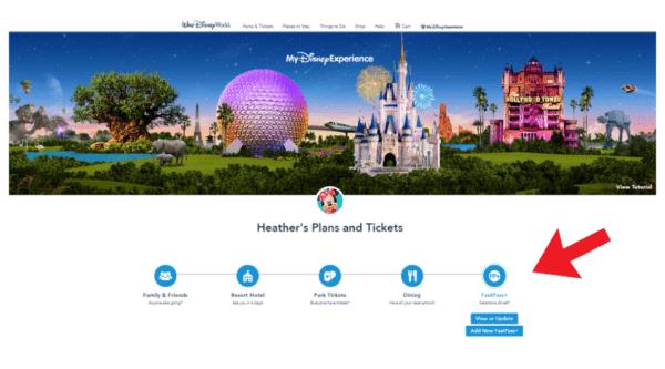 My Disney Experience get fastpass+
