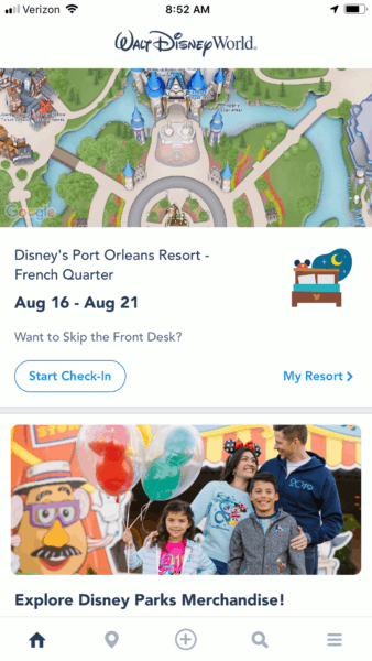 My Disney Experience online check in on phone