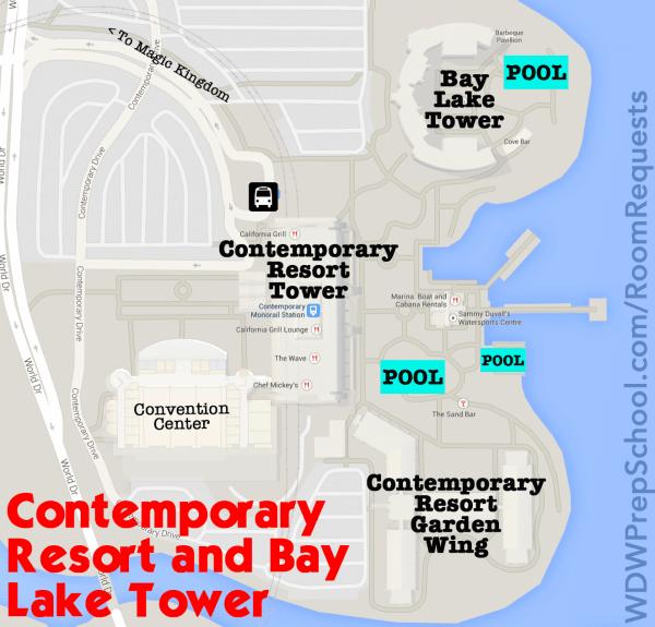 contemporary resort and bay lake tower map walt disney world