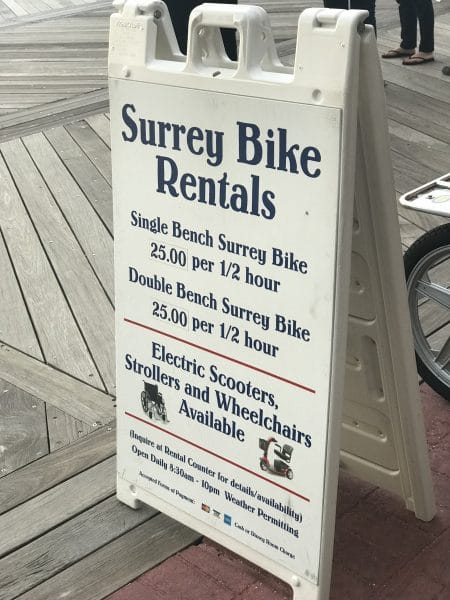 surrey bike rental sign