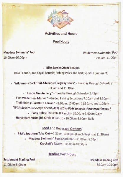 Fort Wilderness activity schedule