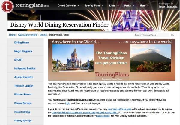 touring plans disney dining reservation finder