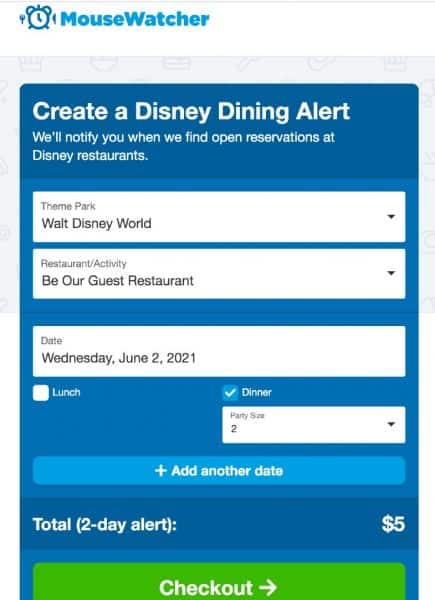 mousewatcher disney dining alert