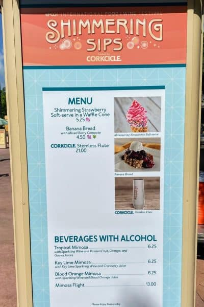 shimmering sips booth menu epcot international food and wine festival