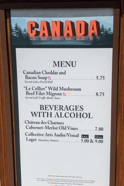 Canada menu epcot international food and wine festival