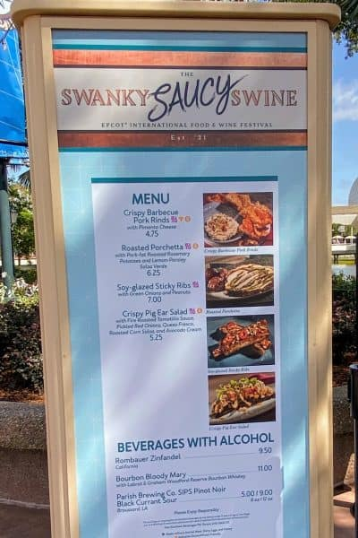 the swanky saucy swine booth menu epcot international food and wine festival