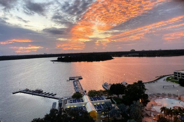 Sunset over Bay Lake at the Contemporary
