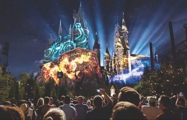 hogwarts castle nighttime lighting universal