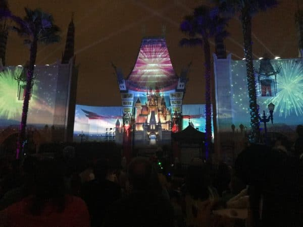projections on front of Chinese theater
