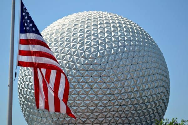 Spaceship Earth with Flag July at Disney World
