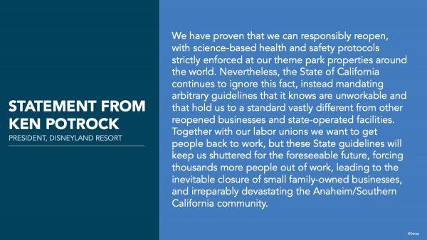 Ken Potrock statement about Disneyland